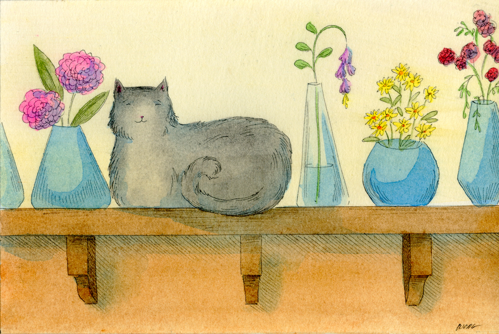 eBay.4x6.Black cat and blue vases