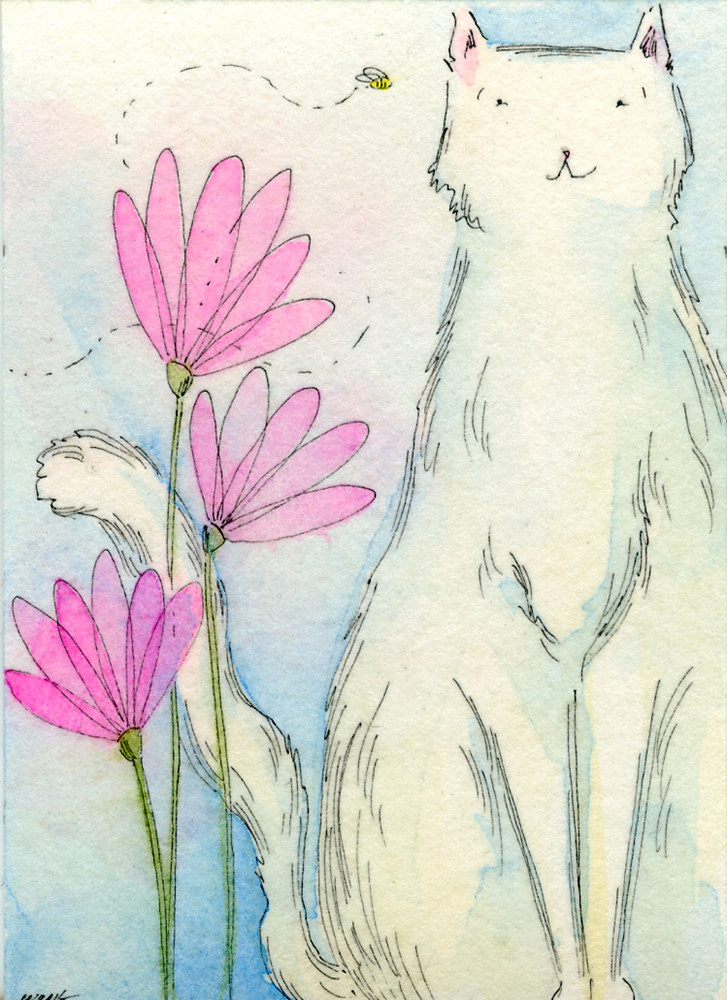 eBay.aceo.White cat and the bee