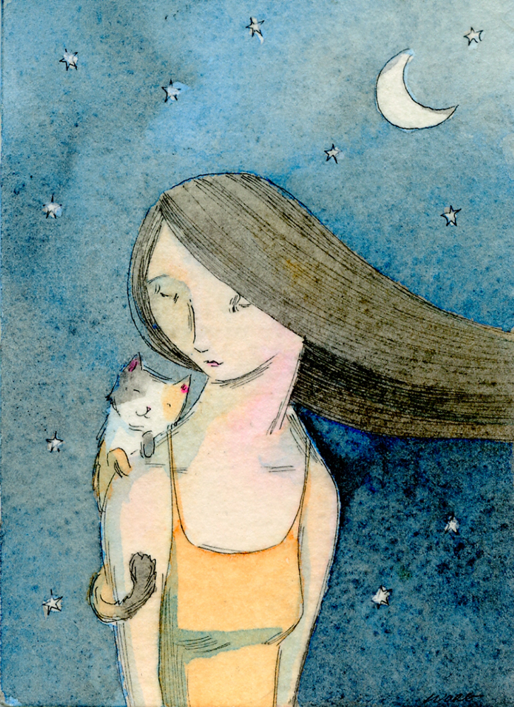 etsy.aceo.Calico at night