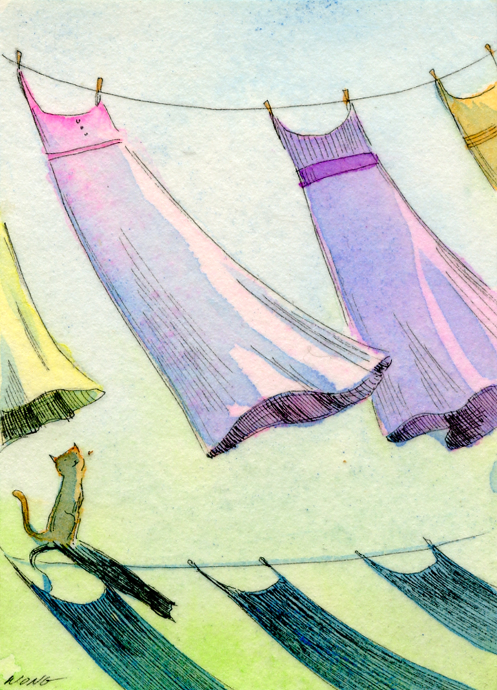 etsy.aceo.Drying sundresses