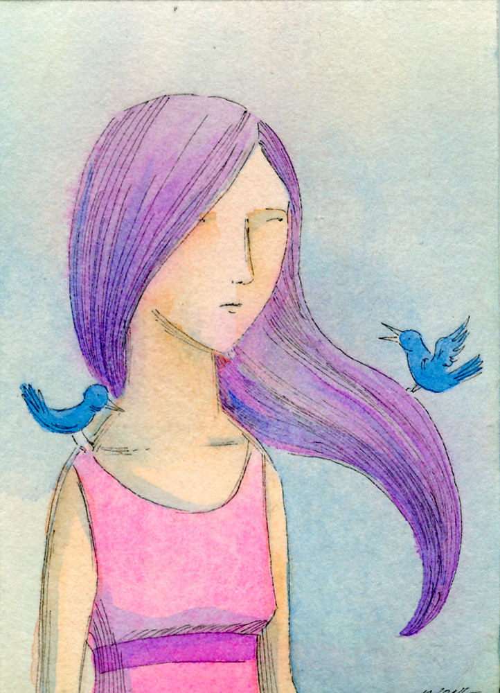 eBay.aceo.Bird talk in purple, pink, and blue