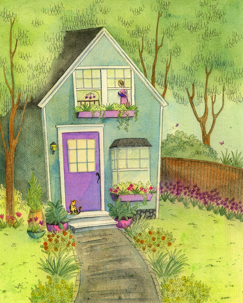etsy.8x10.Sleepy little house in the garden