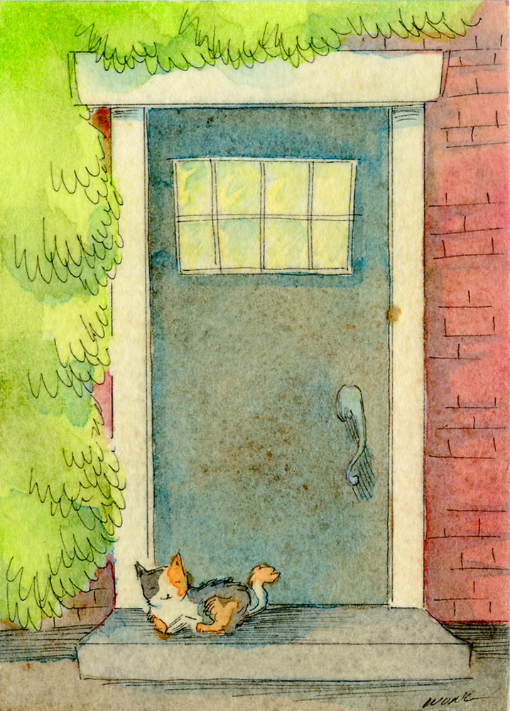 etsy.aceo.Calico at the door