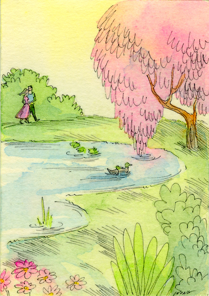 etsy.aceo.Romantic walk by the duck pond