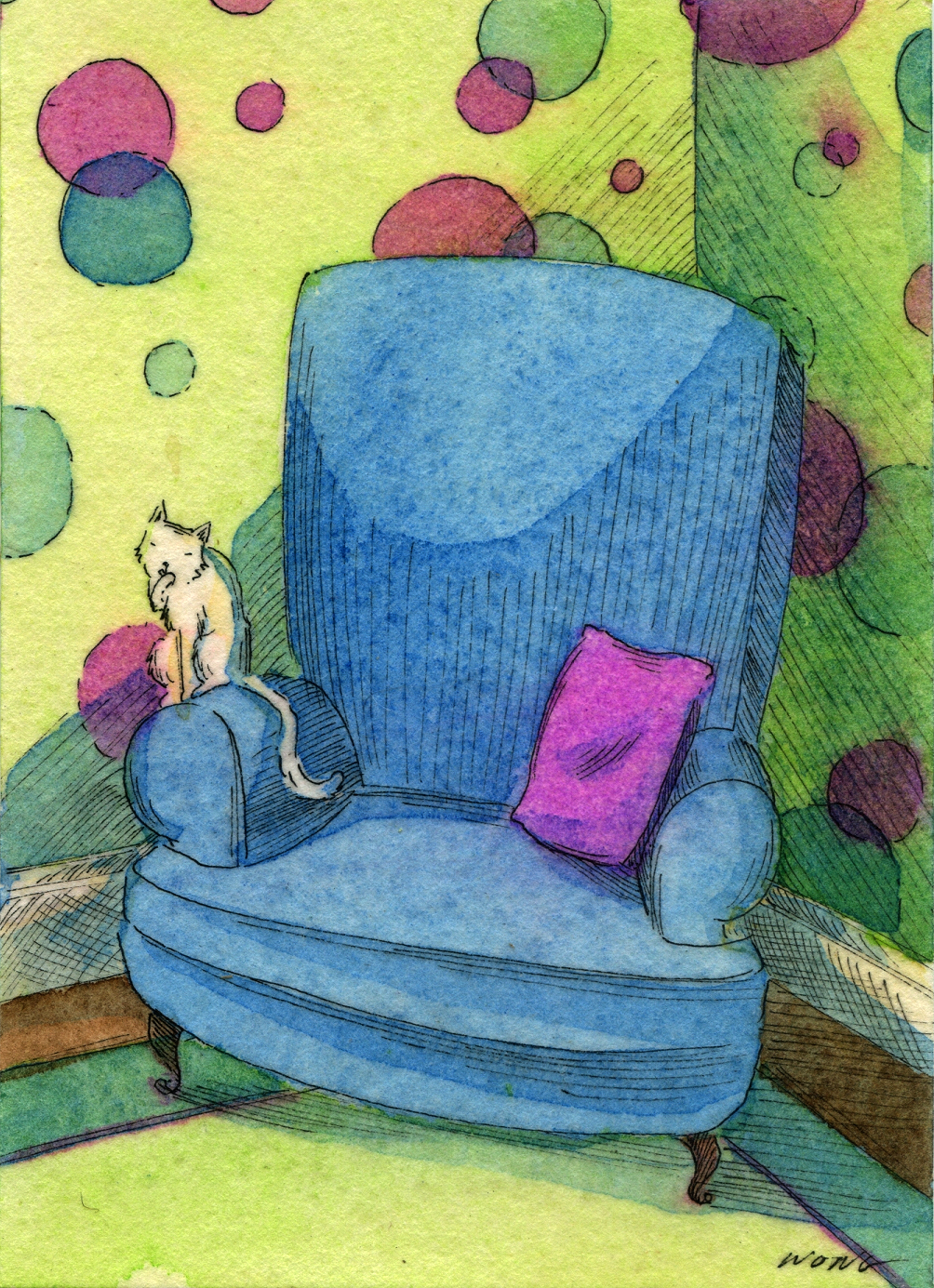 etsy.aceo.Sitting-on-thr-blue-chair
