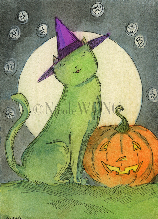 eBay.aceo.Little green witch cat