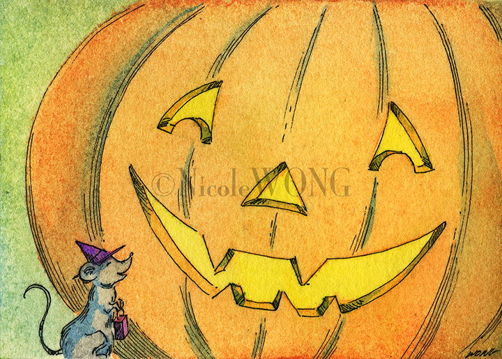 eBay.aceo.Trick-or-treat mouse