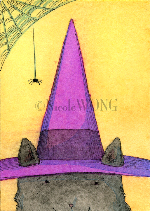 eBay.aceo.Witch cat and spider