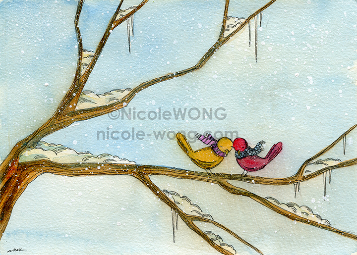 eBay.5x7.Love birds in winter