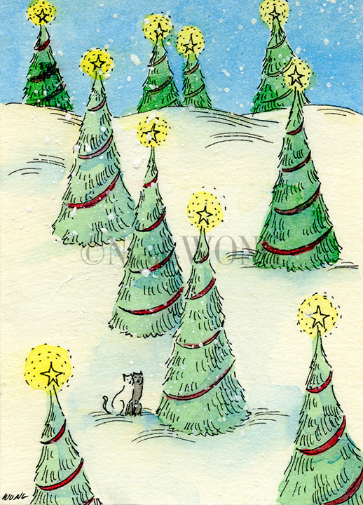 eBay.aceo.Christmas in the woods