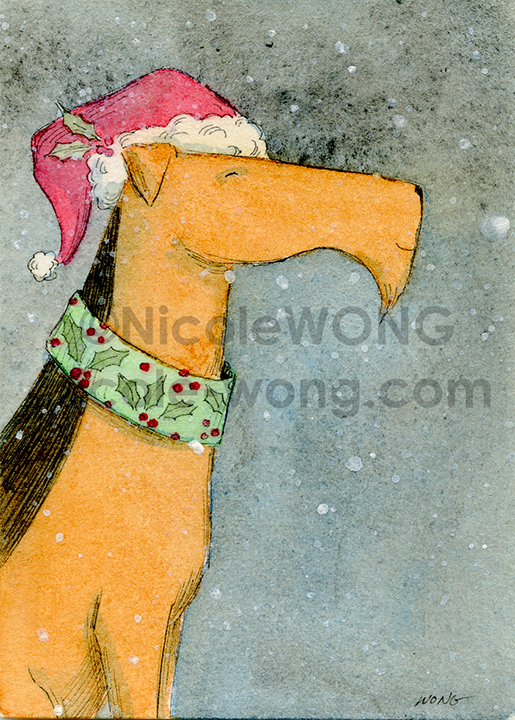 ebay.aceo.Airedale Christmas