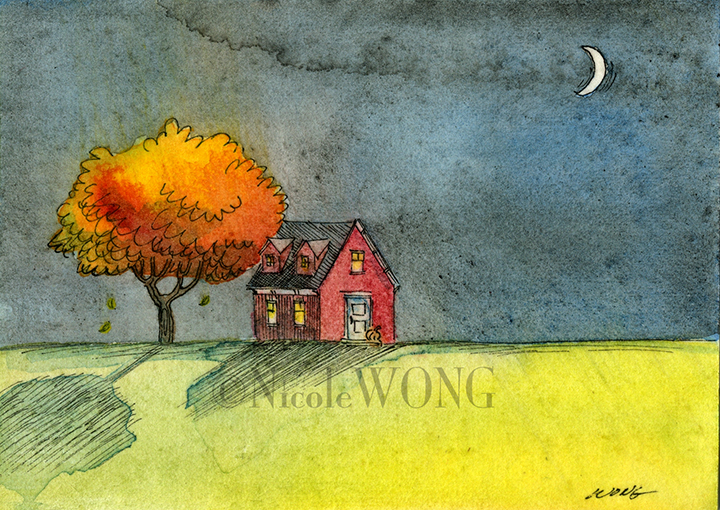 etsy.aceo.Little Autumn house at night