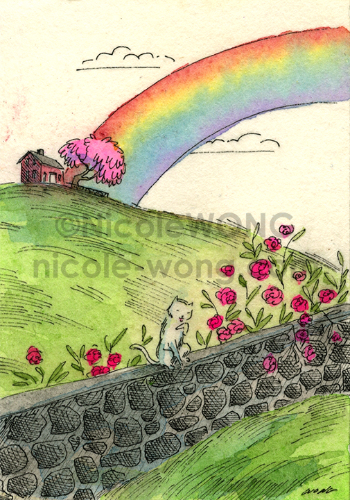 etsy.aceo.Rainbow-and-the-kitty