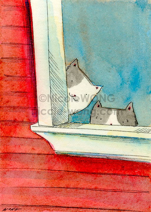 eBay.aceo.Peek-out-of-the-red-house