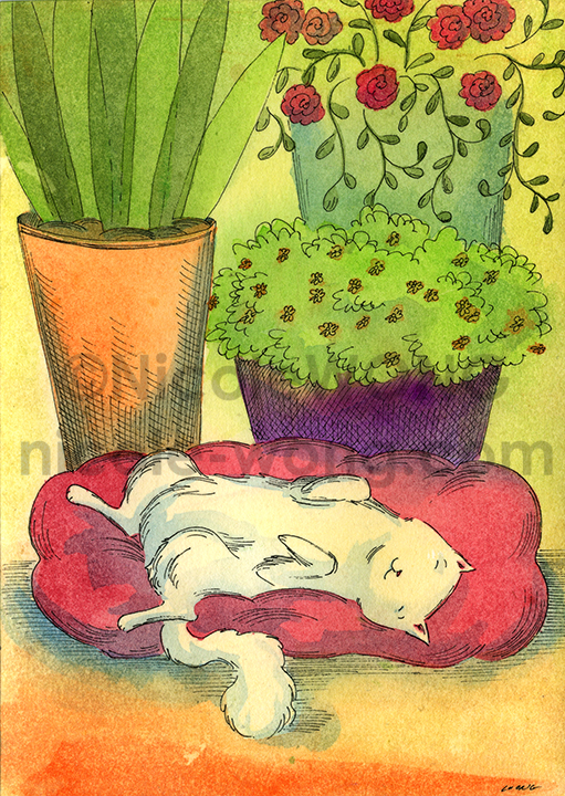etsy.5x7.Sleeping-by-the-plant-pots