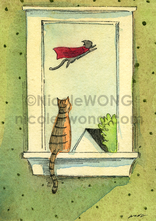 etsy.aceo.Supercat-flying-by