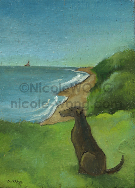 etsy.aceo.oil-block.Dog-by-the-ocean