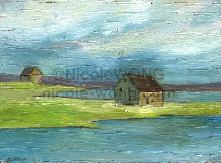 etsy.aceo.oil-block.House-on-the-water