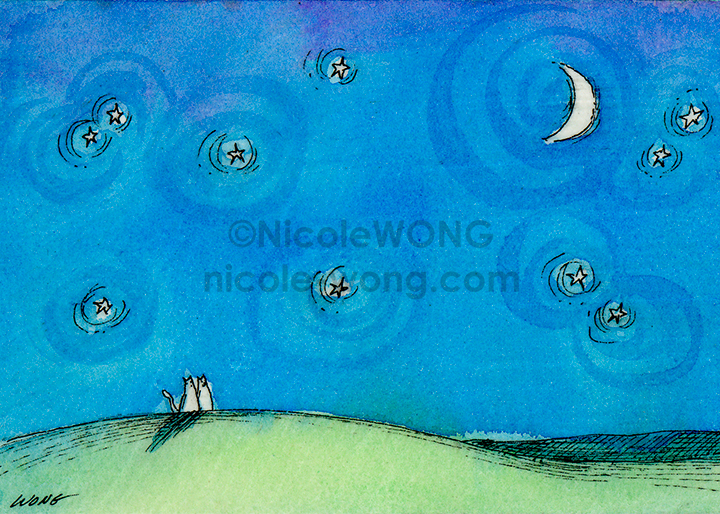 aceo.print.Love-under-the-Night-Sky