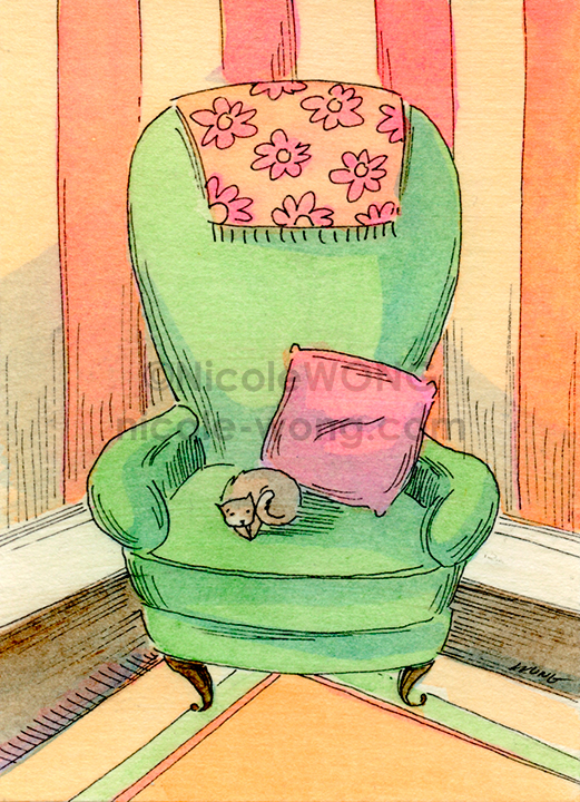 eBay.aceo.Green-chair-nap
