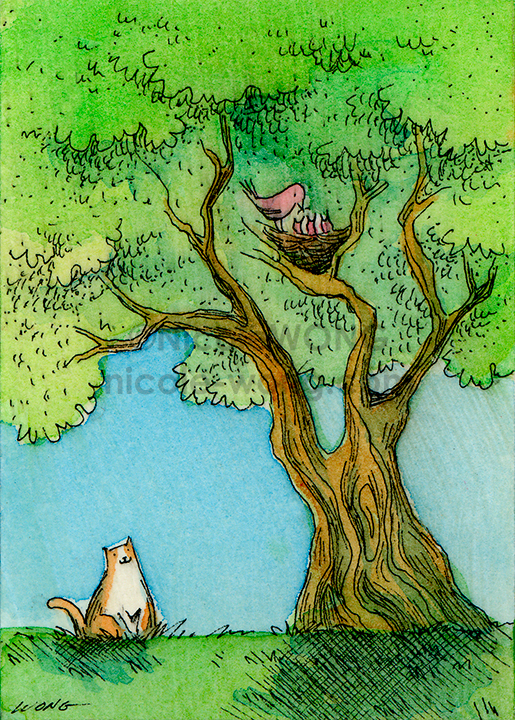 aceo.print.Watching-the-Bird's-Nest