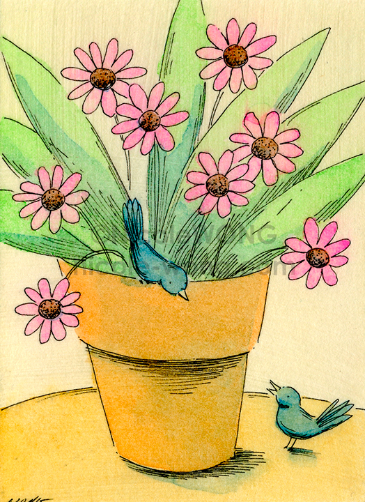 eBay.aceo.Two-birds-and-pink-flowers