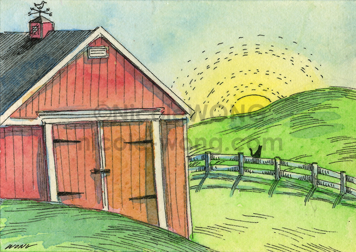 etsy.aceo.Sunrise-on-the-farm