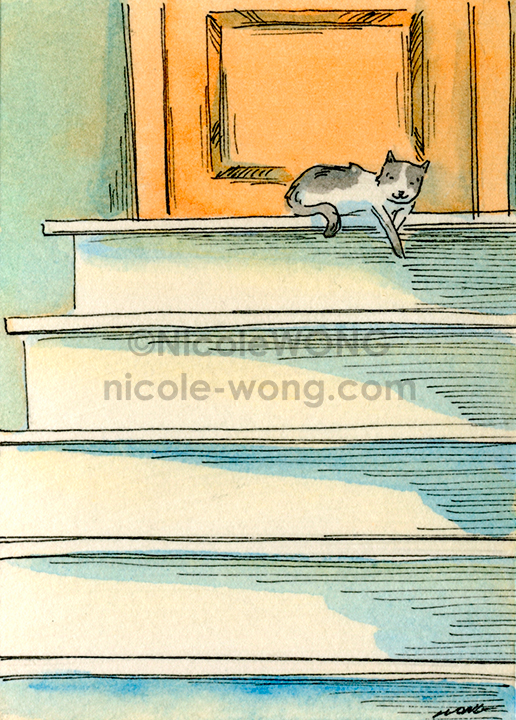 eBay.aceo.Lounging-on-the-stairs