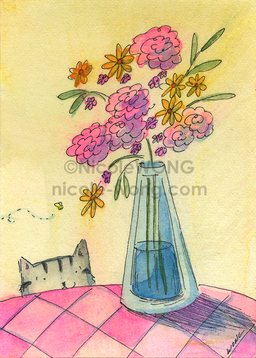 etsy.aceo.Flower-vase