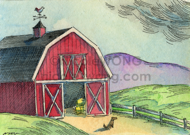 etsy.aceo.Red-barn