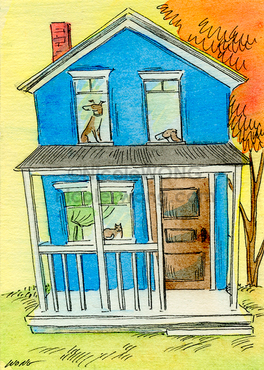 eBay.aceo.Happy-blue-house