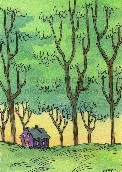 etsy.aceo.House-under-the-trees