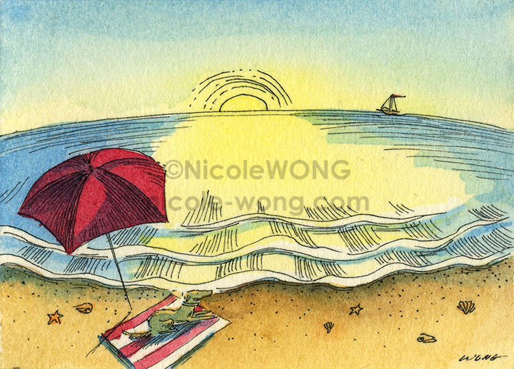etsy.aceo.Last-sun-on-the-beach