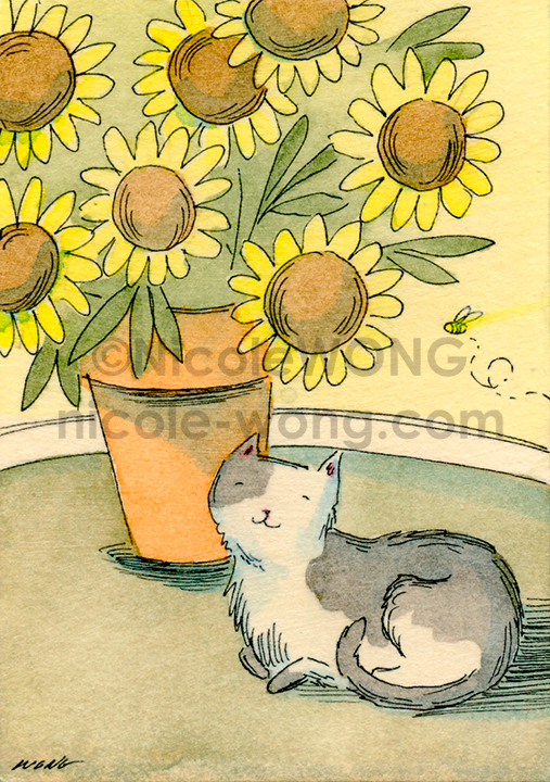 eBay.aceo.Cat-&-yellow-flowers