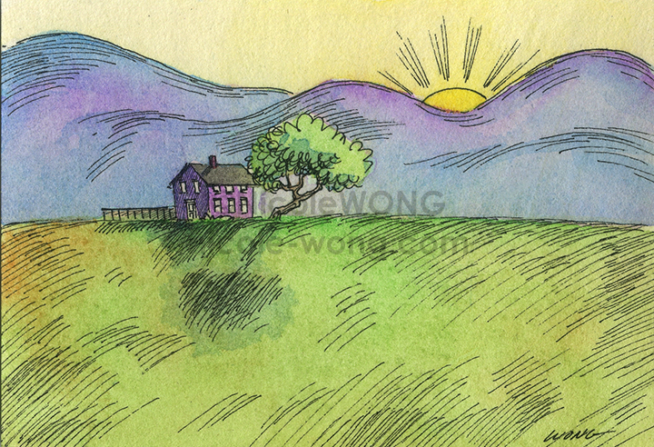 etsy.aceo.Sunrise-over-the-moutains