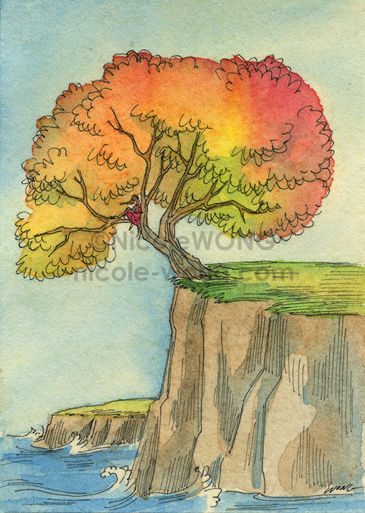 etsy.aceo.Tree-on-the-cliff
