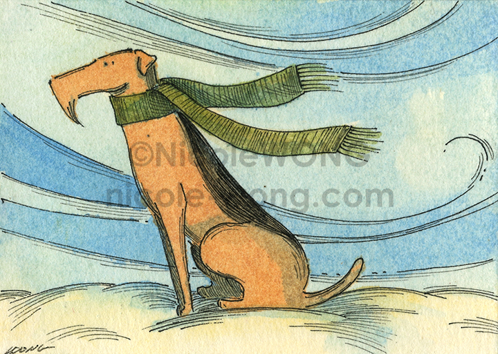 etsy.aceo.Airedale-in-winter