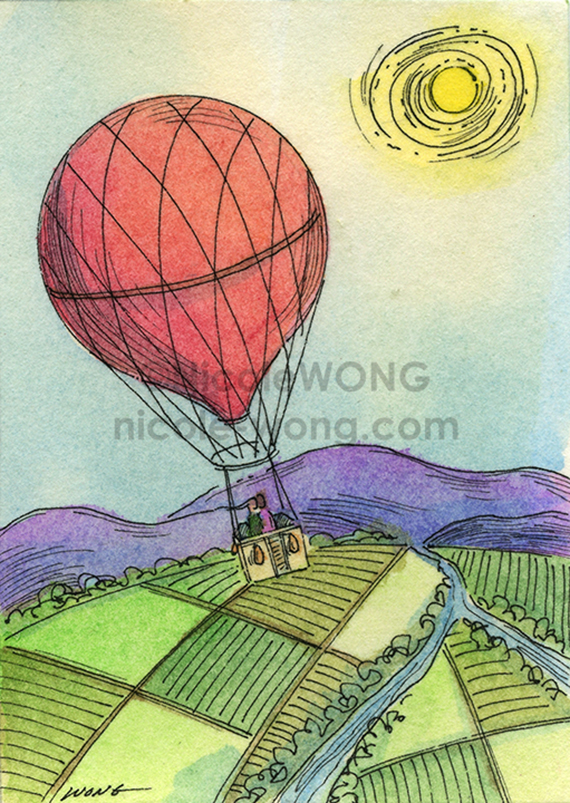 etsy.aceo.Balloon-ride,-quiet-landscape