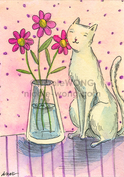 etsy.aceo.Cat-and-vase