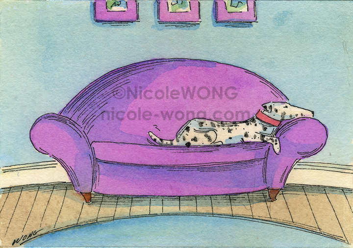 etsy.aceo.Dalmation-on-the-sofa
