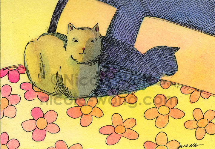 etsy.aceo.Sunbeam-on-the-bed