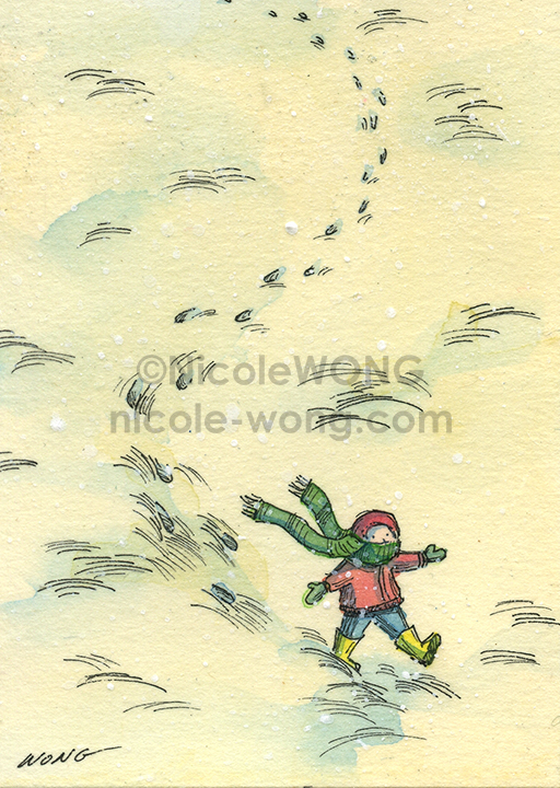 etsy.aceo.Toddler-in-snow