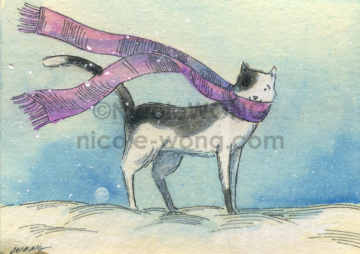etsy.aceo.Winter-cat