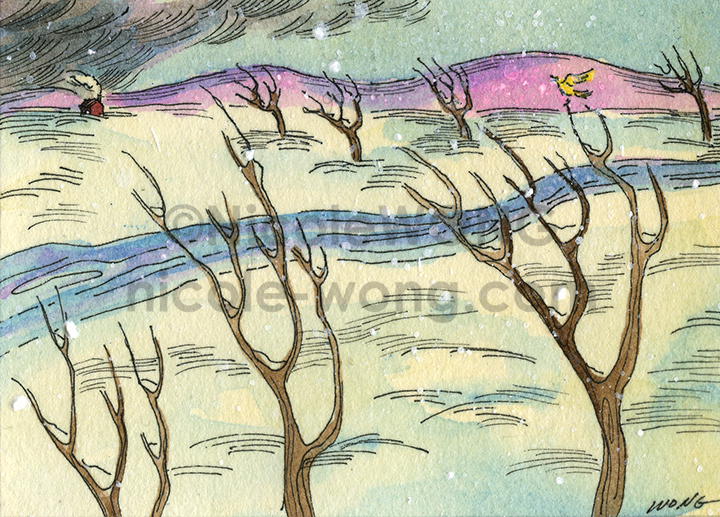 etsy.aceo.Yellow-bird-in-a-winter-storm