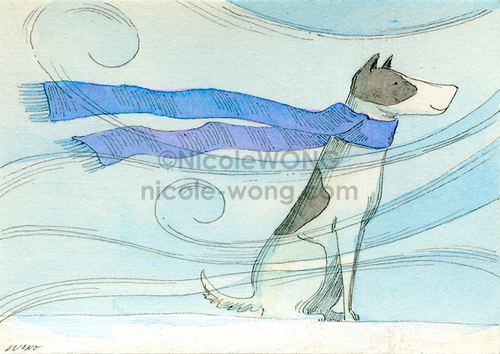 eBay.aceo.Scarf-on-a-windy-day