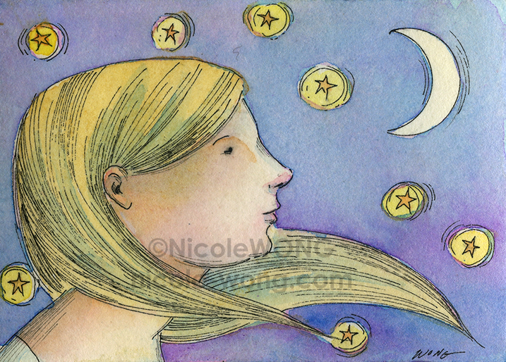 etsy.aceo.Wishes-at-night