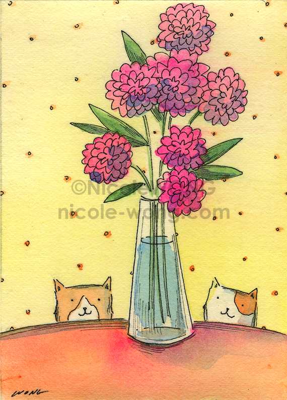 etsy.aceo.Vase-and-2-kitties
