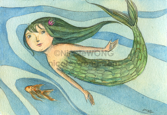 etsy.aceo.Mermaid-swim