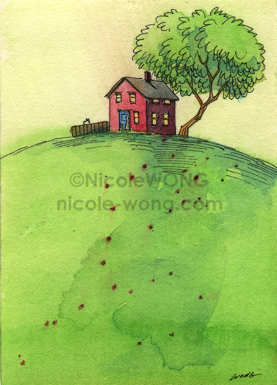 etsy.aceo.Red-house-on-the-hill