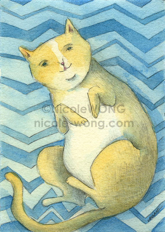 etsy.aceo.Cat-on-blue